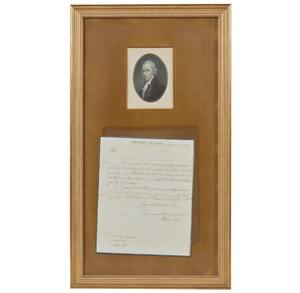 Alexander Hamilton Signed Letter to Wm Ellery and Portrait
