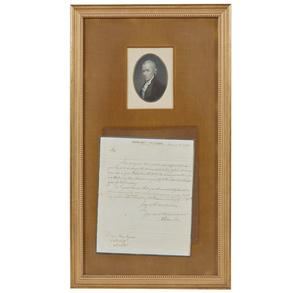 Alexander Hamilton Signed Letter to Wm Ellery and Portrait