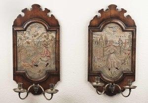 Pair of Antique Framed Needlework Sconces