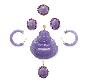 Lavender Jade, Amethyst and 14k Gold Jewelry Suite