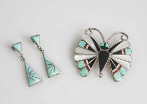 Sara Edaakie Butterfly Pin and K.E.K. Earrings