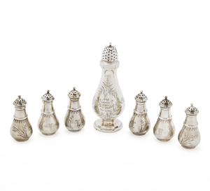 Silver Pepper Shakers, W.K. Vanderslice & Co, 7.29 ozt