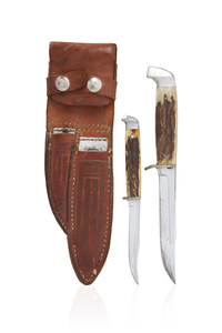 Double Sheathed Case Stag Handle Knives