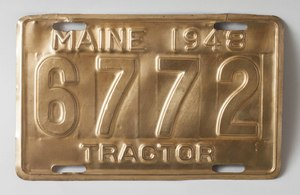 1948 Maine Tractor License Plate