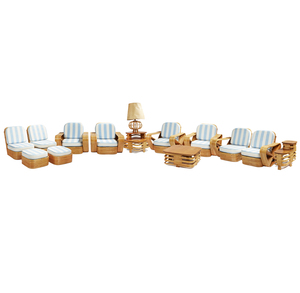 12 Piece Paul Frankl Design Rattan Living Room Set
