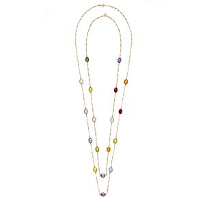 Two Multi-Gemstone 14k Necklaces