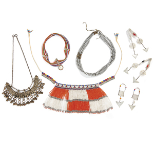 Two Maasai, Tanzania Woman's Earrings, Zulu Beaded Cache-Sexe, Kenya Headdress and Metal Belt, Ethiopia Wedding Necklace