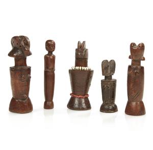 """Five Kwere and Zaramo Tanzanian """"Mwana Hiti"""" Dolls"""