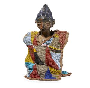 Yoruba, Nigeria Ibeji Figure with Beaded Cloak