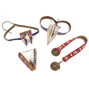 "Two Maasai, Tanzania Belts for ""Moran Warrior"", Beaded Neck Piece and Beaded Ear Flaps for Married Women"