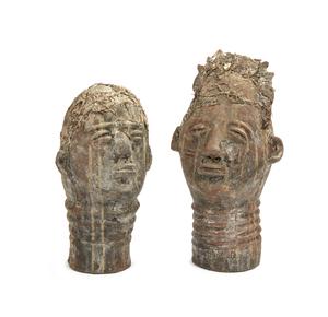 Two Akan Ceramic Heads
