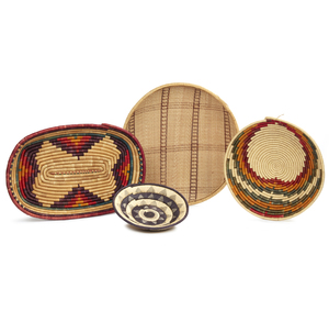 Three Uganda Baskets and a Bushango, Uganda Winnowing Basket