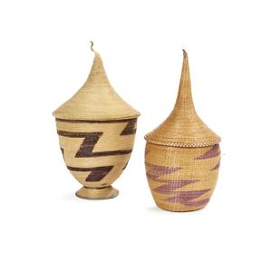 Two Tutsi, Rwanda Baskets with Lids