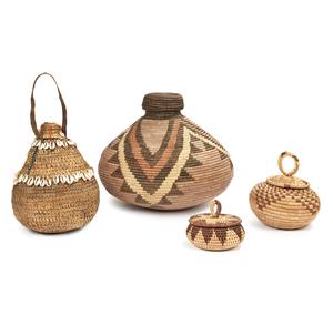 "Zulu, South Africa ""Ukhama"" Storage Basket, Kenya Basket, Two Matabele, Zimbabwe Baskets"