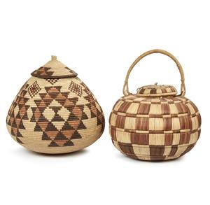 """Zulu, South Africa """"Ukhama"""" Storage Basket and  Matabele, Zimbabwe Basket"""