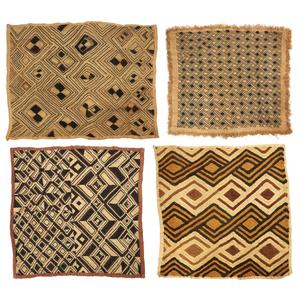 Four Kuba, DRC (Zaire) Raffia Cloth Panels