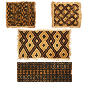 Four Kuba, DRC (Zaire) Raffia Cloth Panels