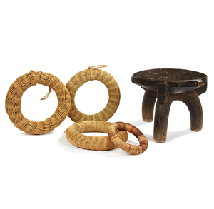 Hehe, Tanzania Stool with 4 Woven Basketry Rings