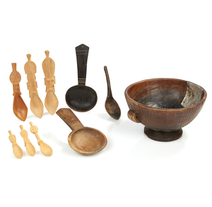 Assorted Spoons and Wood Bowl