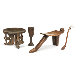 Lobi, Ghana  Stool, Chamba Stool, South African Wood Spoon, and Kuba Cup, DRC (Zaire)