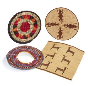 Maasai, Kenya Necklace, Uganda basket, Botswana Tray and Botswana Food Mat