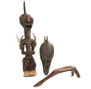 Lobi Wood Seat, Songye Figure, Marka Mask