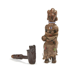 Pipe and Kamba Seated Female Figure with Infant