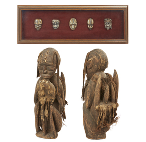 Framed African Replica Bone Maskettes & West African Wood Figure