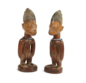Yoruba Pair of Twin Male Wood Figures (Ibeji)
