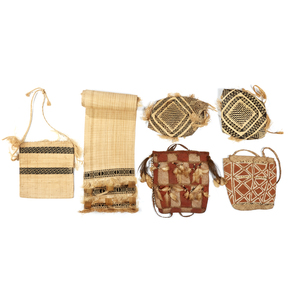 Five Asmat Woven Carrying Bags and Table Runner