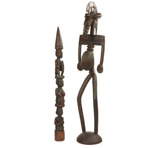 Yoruba Large Divination Tapper, Senufo Standing Female Figure