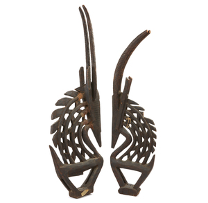 Pair of Bambara Antelope Headdress