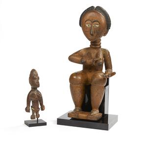 Akan, Ghana Female Wood Figure and a Yoruba Ibeji Figure