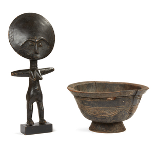 Wood Bowl, DRC (Zaire) and Akan, Ghana, Akuba Wood Figure