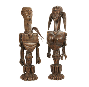 Two Standing West African Wood Figures