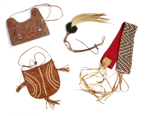 African Whisk, Two Beaded Purses, and a Belt