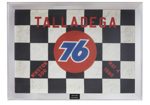 Framed Signed Checkered Flag for 1980 NASCAR