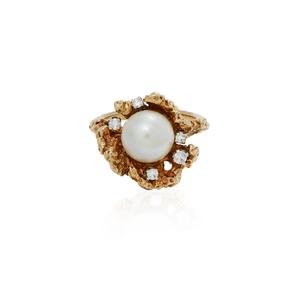 14k Diamond Pearl Ring