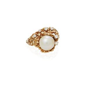 14k South Sea Pearl Diamond Ring