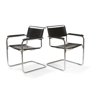 Two Mart Stam Cantilever Arm Chairs 5-34 by Thonet