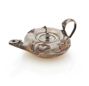 Mixed Metal Gorham Oil Lamp, late 19th century