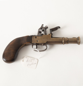 Brass Barrel and Frame Flintlock Pistol, Probably a Replica