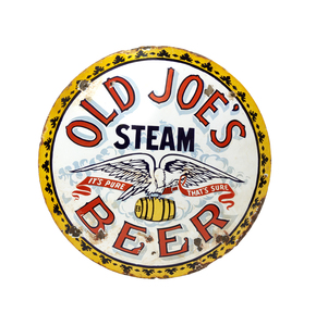 Old Joe's Steam Beer Porcelain Advertisement Sign