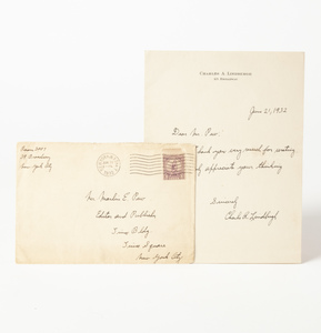 Autograph: Signed Handwritten Note from Charles A. Lindbergh