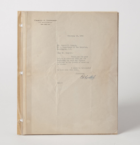 Lindbergh Letter, Dated February 19, 1932 with Clear Signature