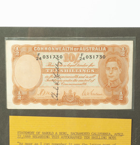 Lindbergh Signed Australian Ten Shilling Note, with Handwritten Letter from Man Who Asked for it