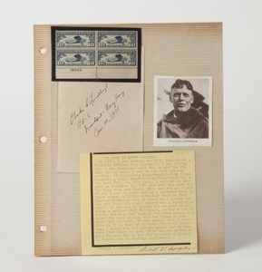 Lindbergh Hand-written Note and Autograph, with Description of Meeting, from November 30, 1971