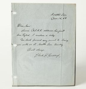 Lindbergh Hand-written Note, Dated November 16, 1968