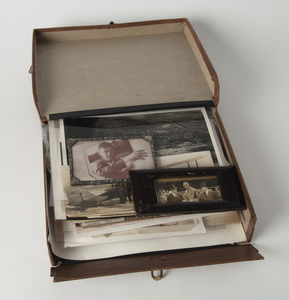 Box of Lindbergh Photos, Postcards, Stamps and Related Material