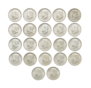 Twenty Two 1964 Kennedy Half Dollars